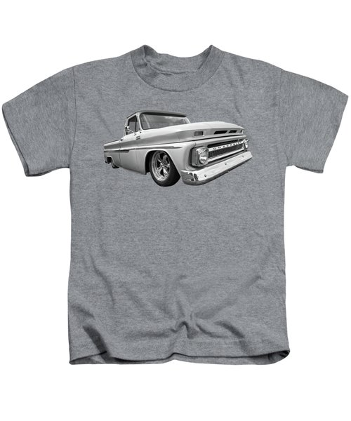 1965 Chevy C10 Truck In Black And White Kids T-Shirt