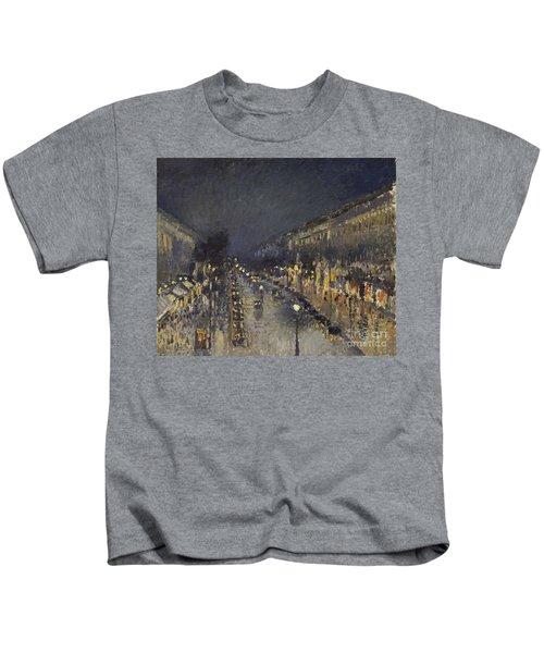 The Boulevard Montmartre At Night Kids T-Shirt