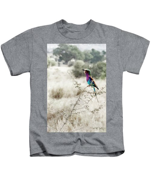 A Lilac Breasted Roller Sings, Desaturated Kids T-Shirt