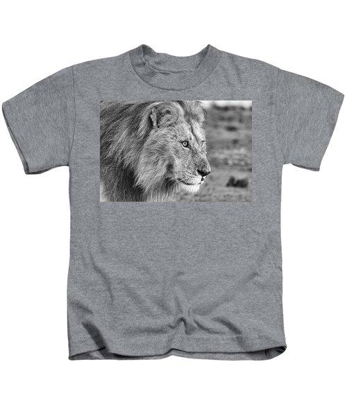 A Monochrome Male Lion Kids T-Shirt