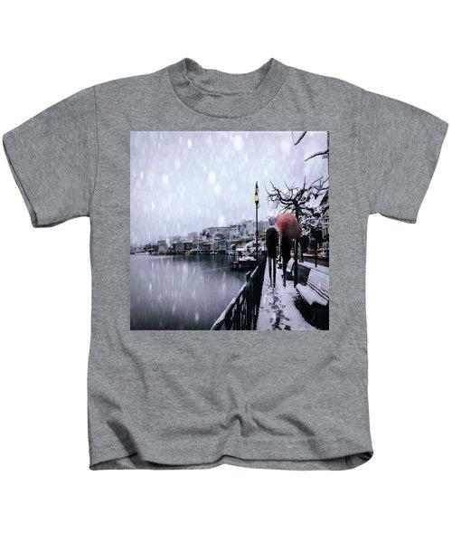 A Snowy Walk Kids T-Shirt