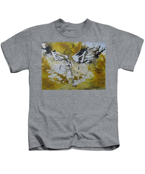 Abstract Cat Face Yellows And Browns Kids T-Shirt
