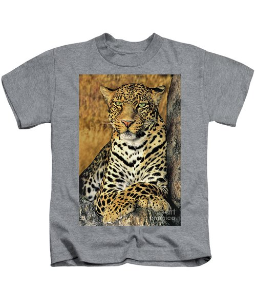African Leopard Portrait Wildlife Rescue Kids T-Shirt