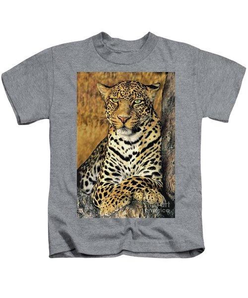 African Leopard Portrait Wildlife Rescue Kids T-Shirt