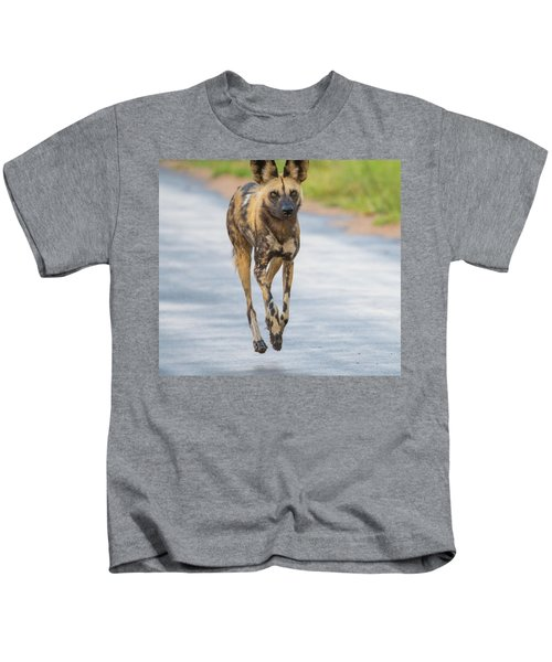 African Wild Dog Bouncing Kids T-Shirt