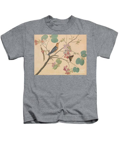 An Orange Headed Ground Thrush And A Moth On A Purple Ebony Orchid Branch, 1778 Kids T-Shirt