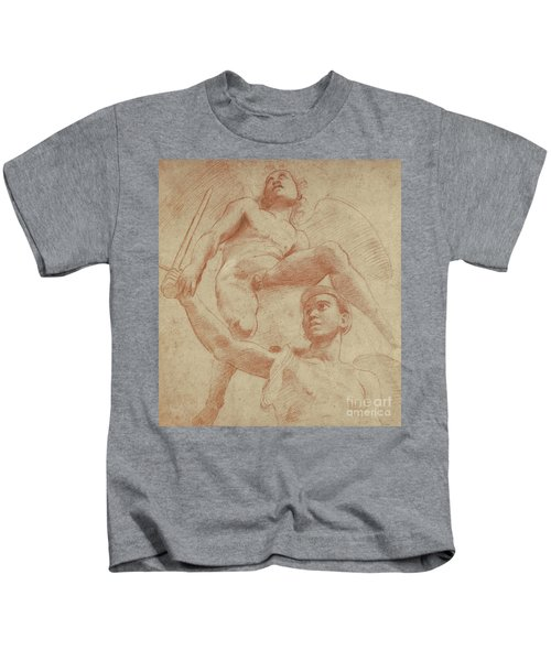 Angel And A Figure Representing The Planet Mars Kids T-Shirt