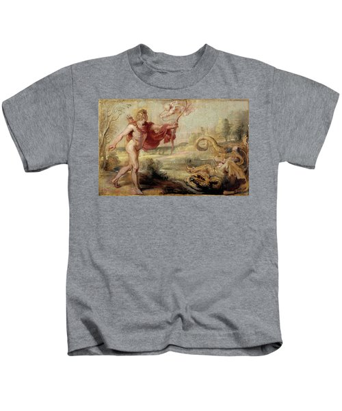 'apollo And The Python', 1636-1637, Flemish School, Oil On Panel, 26,8 Cm X ... Kids T-Shirt