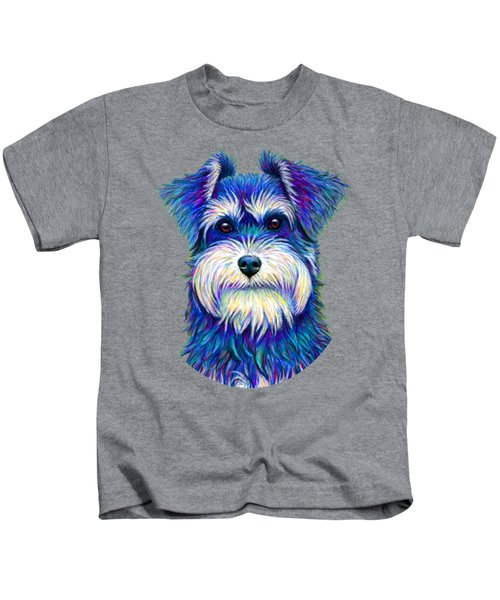 Colorful Miniature Schnauzer Dog Kids T-Shirt
