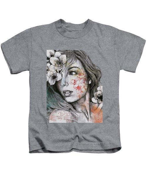 Mascara - Expressive Female Portrait With Freesias Kids T-Shirt