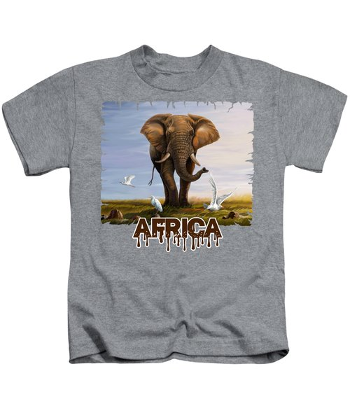 Elephant And Cattle Egrets Kids T-Shirt