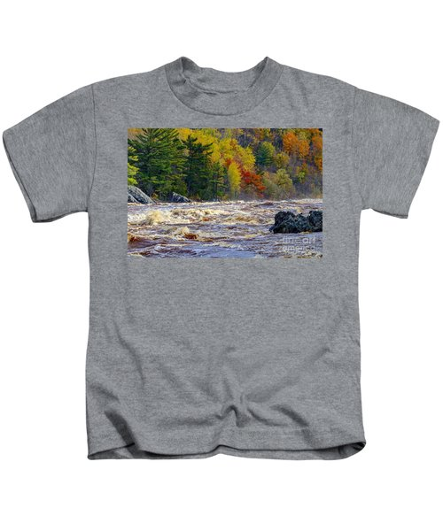 Autumn Colors And Rushing Rapids   Kids T-Shirt