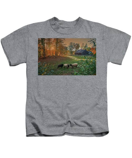 Autumn Sunset At The Old Farm Kids T-Shirt