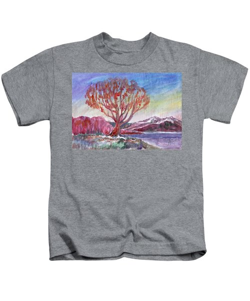 Autumn Tree By The River Kids T-Shirt