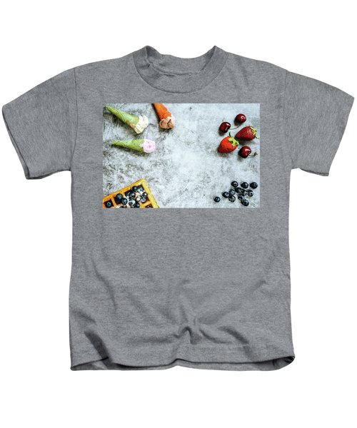 Background Of Tasty And Sweet Foods With Red Fruits And Waffles, Kids T-Shirt