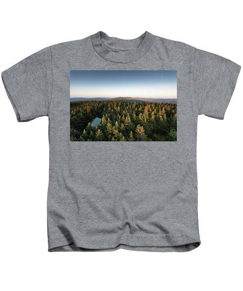 Balsam Lake Mountain Sunset Moon Kids T-Shirt