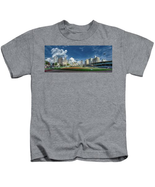 Bbt Baseball Charlotte Nc Knights Baseball Stadium And City Skyl Kids T-Shirt