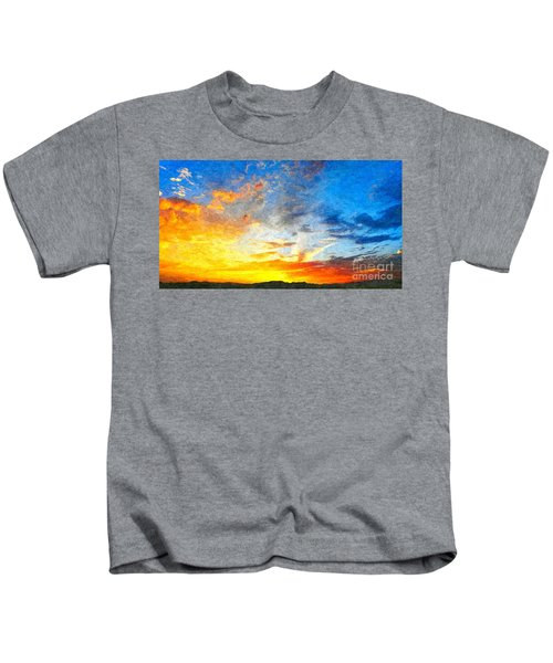 Beautiful Sunset In Landscape In Nature With Warm Sky, Digital A Kids T-Shirt