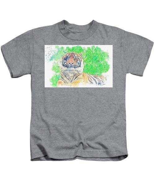 Bengal Tiger -  Watercolor By Ahmet Asar Kids T-Shirt