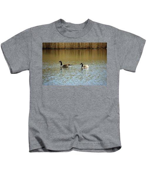 Bidston.  Bidston Moss Wildlife Reserve. Two Geese. Kids T-Shirt