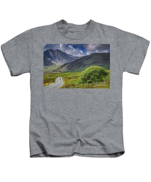 Biker In Snowdonia Wales Kids T-Shirt