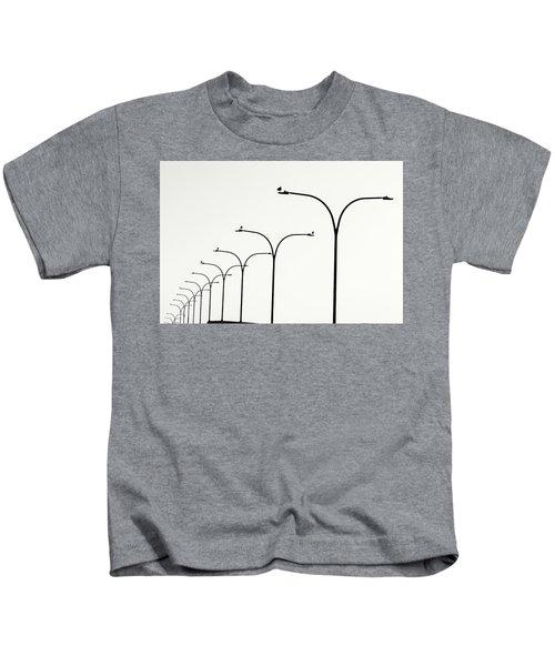 Birds Watch Over Queensway Bridge Kids T-Shirt