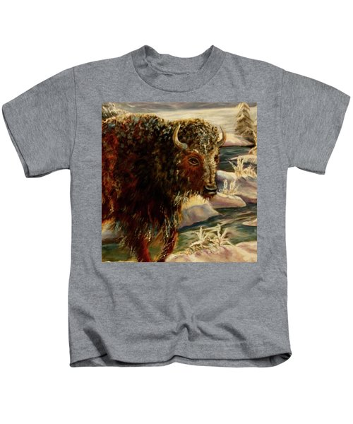 Bison In The Depths Of Winter In Yellowstone National Park Kids T-Shirt