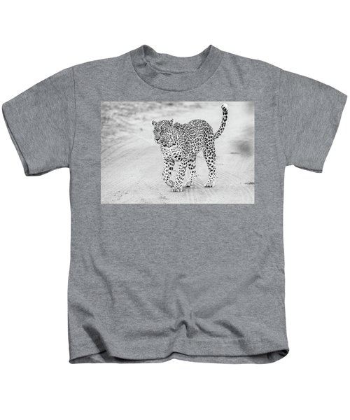 Black And White Leopard Walking On A Road Kids T-Shirt