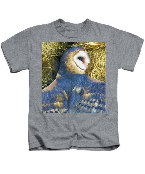 Blue Barn Owl Kids T-Shirt