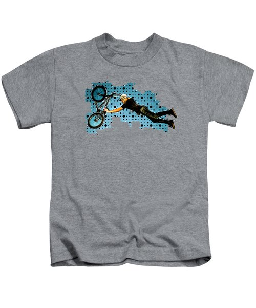 Bmx Flying Stunt Of Black And Blue Dots Black Bkgd Kids T-Shirt