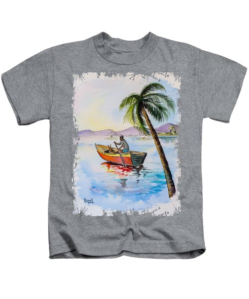 Boat And Palm Kids T-Shirt