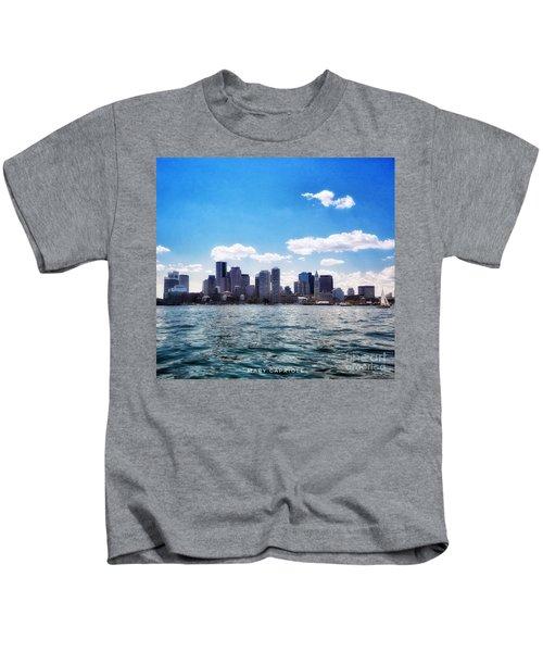 Boston Skyline From Boston Harbor  Kids T-Shirt