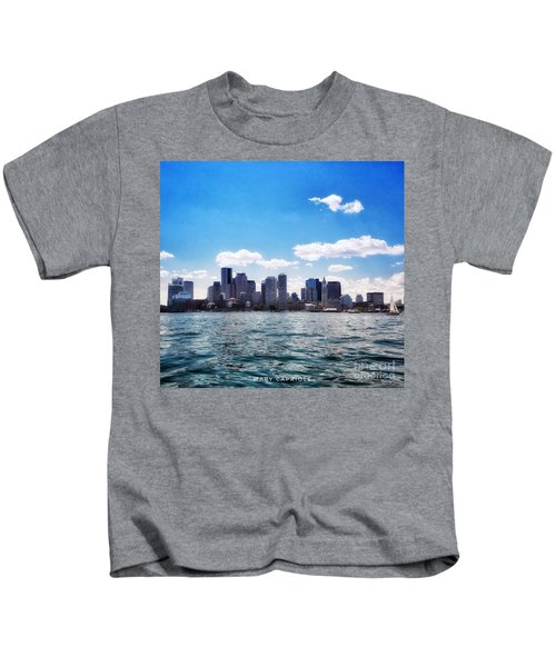 Boston Skyline From Boston Harbor  Kids T-Shirt
