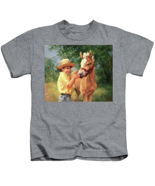 Boy And Foal  Kids T-Shirt