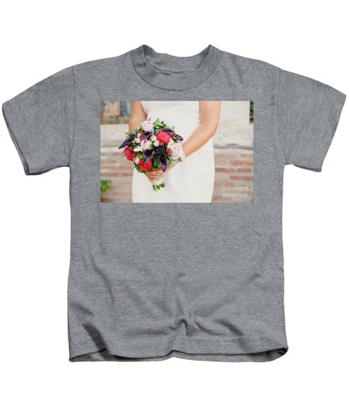 Bridal Bouquet Held By Her With Her Hands At Her Wedding Kids T-Shirt