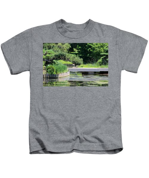 Bridge Over Pond In Japanese Garden Kids T-Shirt