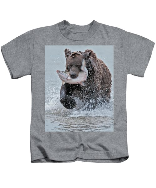 Brown Bear With Salmon Catch Kids T-Shirt