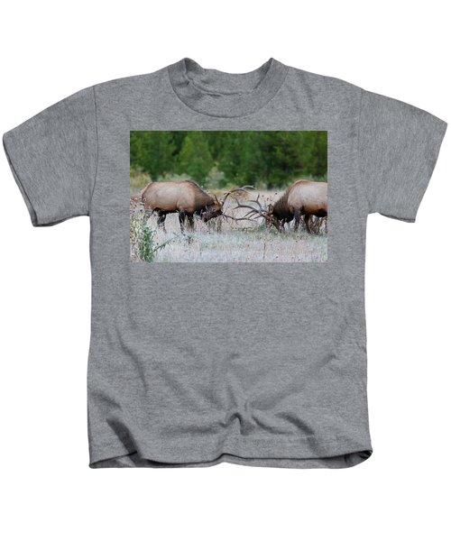 Bull Elk Battle Rocky Mountain National Park Kids T-Shirt