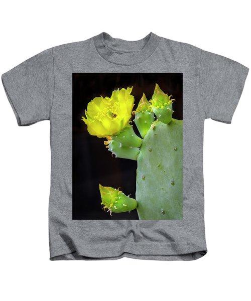 Cactus Blooms With Bee II Kids T-Shirt