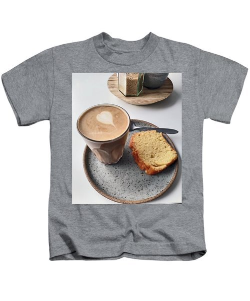 Cafe. Latte And Cake.  Kids T-Shirt