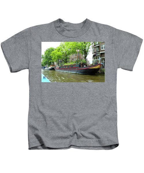 Canal Boats In Amsterdam - 2 Kids T-Shirt