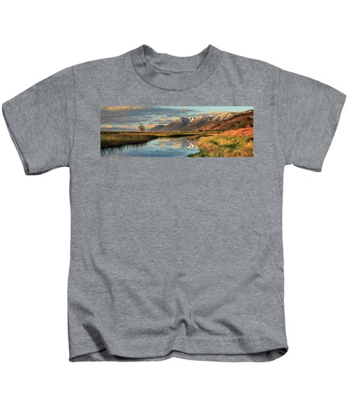 Carson Valley Sunrise Panorama Kids T-Shirt