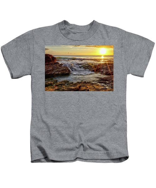 Cascading Sunset At Crystal Cove Kids T-Shirt