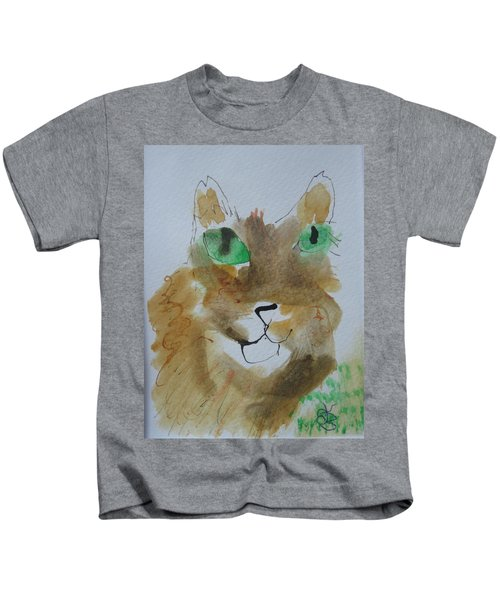 Cat Face Yellow Brown With Green Eyes Kids T-Shirt