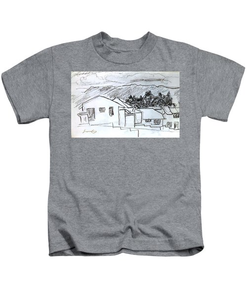 Charcoal Pencil Houses.jpg Kids T-Shirt