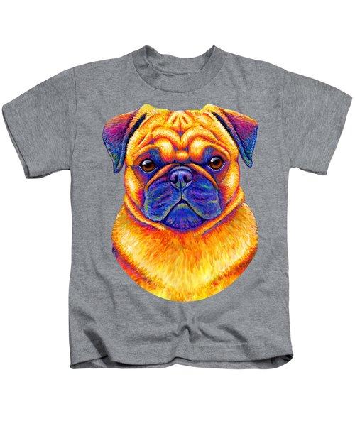 Colorful Rainbow Pug Dog Portrait Kids T-Shirt
