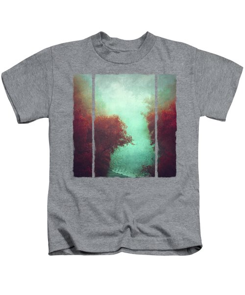 Copper Trees And River  In Mist Kids T-Shirt