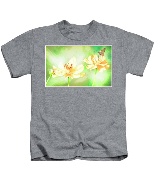 Cosmos Flowers, Bud, Butterfly, Digital Painting Kids T-Shirt