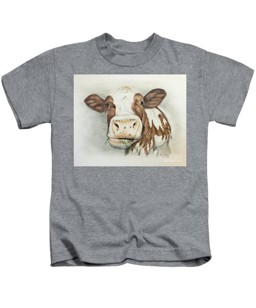 Cow Eating Breakfast Kids T-Shirt