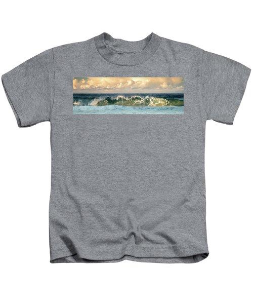 Crashing Waves And Cloudy Sky Kids T-Shirt
